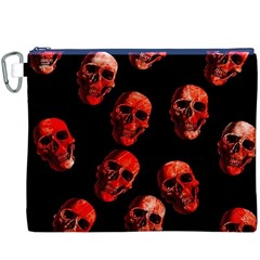 Skulls Red Canvas Cosmetic Bag (xxxl)