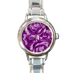 Gorgeous Roses,purple  Round Italian Charm Watches