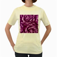 Gorgeous Roses,purple  Women s Yellow T Shirt