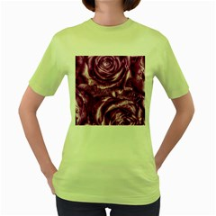 Gorgeous Roses,purple  Women s Green T-Shirt