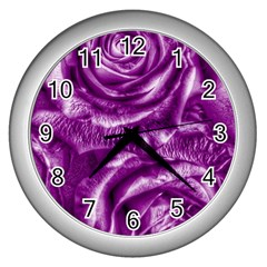 Gorgeous Roses,purple  Wall Clocks (Silver)