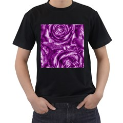 Gorgeous Roses,purple  Men s T-Shirt (Black) (Two Sided)