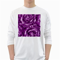 Gorgeous Roses,purple  White Long Sleeve T Shirts