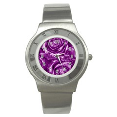 Gorgeous Roses,purple  Stainless Steel Watches
