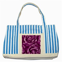 Gorgeous Roses,purple  Striped Blue Tote Bag