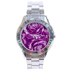 Gorgeous Roses,purple  Stainless Steel Men s Watch