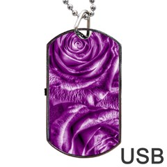 Gorgeous Roses,purple  Dog Tag Usb Flash (two Sides)