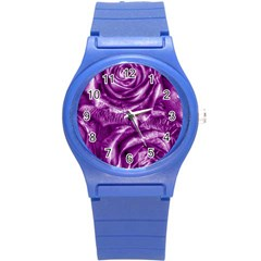 Gorgeous Roses,purple  Round Plastic Sport Watch (S)