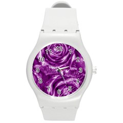 Gorgeous Roses,purple  Round Plastic Sport Watch (M)