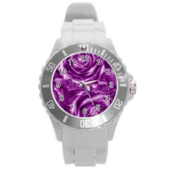 Gorgeous Roses,purple  Round Plastic Sport Watch (L)