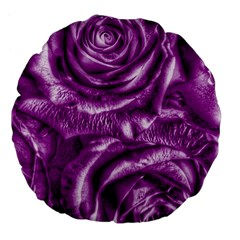 Gorgeous Roses,purple  Large 18  Premium Flano Round Cushions