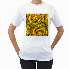 Gorgeous Roses, Yellow  Women s T Shirt (white) (two Sided)