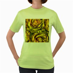 Gorgeous Roses, Yellow  Women s Green T Shirt