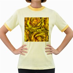 Gorgeous Roses, Yellow  Women s Fitted Ringer T-Shirts