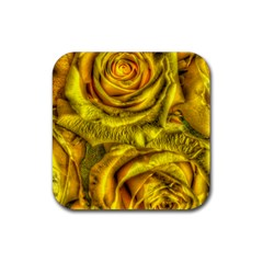 Gorgeous Roses, Yellow  Rubber Square Coaster (4 pack)