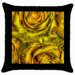 Gorgeous Roses, Yellow  Throw Pillow Cases (Black)