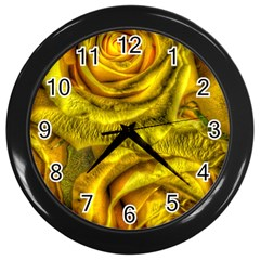 Gorgeous Roses, Yellow  Wall Clocks (Black)