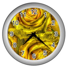 Gorgeous Roses, Yellow  Wall Clocks (silver)