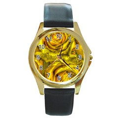Gorgeous Roses, Yellow  Round Gold Metal Watches