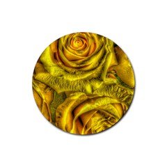Gorgeous Roses, Yellow  Rubber Round Coaster (4 pack)