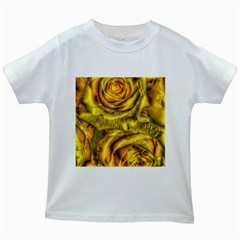 Gorgeous Roses, Yellow  Kids White T Shirts