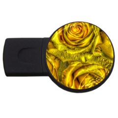 Gorgeous Roses, Yellow  USB Flash Drive Round (2 GB)