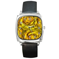 Gorgeous Roses, Yellow  Square Metal Watches