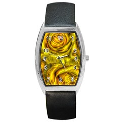 Gorgeous Roses, Yellow  Barrel Metal Watches