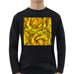Gorgeous Roses, Yellow  Long Sleeve Dark T-Shirts