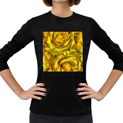 Gorgeous Roses, Yellow  Women s Long Sleeve Dark T-Shirts