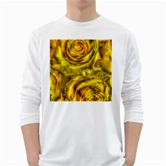Gorgeous Roses, Yellow  White Long Sleeve T-Shirts