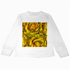 Gorgeous Roses, Yellow  Kids Long Sleeve T-Shirts