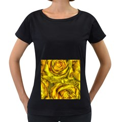 Gorgeous Roses, Yellow  Women s Loose-Fit T-Shirt (Black)