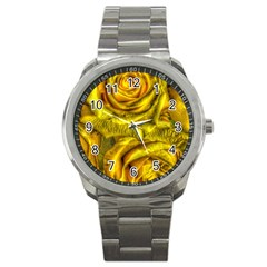 Gorgeous Roses, Yellow  Sport Metal Watches