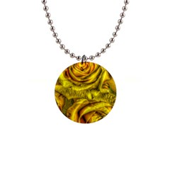 Gorgeous Roses, Yellow  Button Necklaces