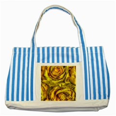 Gorgeous Roses, Yellow  Striped Blue Tote Bag