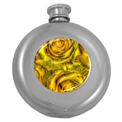 Gorgeous Roses, Yellow  Round Hip Flask (5 oz)