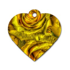 Gorgeous Roses, Yellow  Dog Tag Heart (one Side)