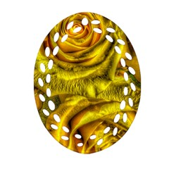 Gorgeous Roses, Yellow  Oval Filigree Ornament (2-Side)