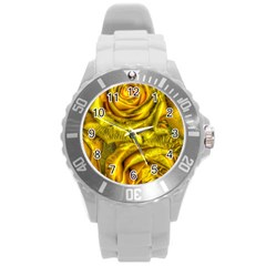 Gorgeous Roses, Yellow  Round Plastic Sport Watch (l)