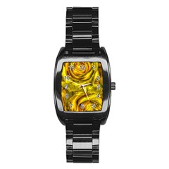 Gorgeous Roses, Yellow  Stainless Steel Barrel Watch