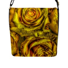 Gorgeous Roses, Yellow  Flap Messenger Bag (L)