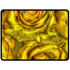Gorgeous Roses, Yellow  Double Sided Fleece Blanket (Large)