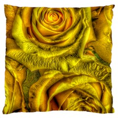 Gorgeous Roses, Yellow  Large Flano Cushion Cases (Two Sides)
