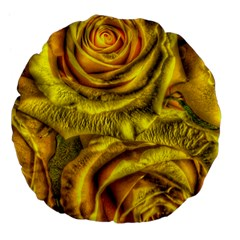 Gorgeous Roses, Yellow  Large 18  Premium Flano Round Cushions