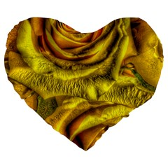 Gorgeous Roses, Yellow  Large 19  Premium Flano Heart Shape Cushions