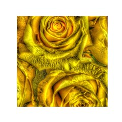 Gorgeous Roses, Yellow  Small Satin Scarf (Square)