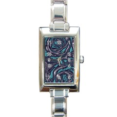 Gorgeous Roses, Aqua Rectangle Italian Charm Watches