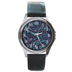 Gorgeous Roses, Aqua Round Metal Watches