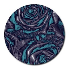 Gorgeous Roses, Aqua Round Mousepads